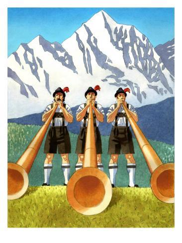 Three Swiss Men Playing Alphorns Art Print