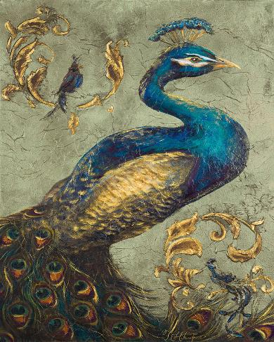 Peacock on Sage I Art Print