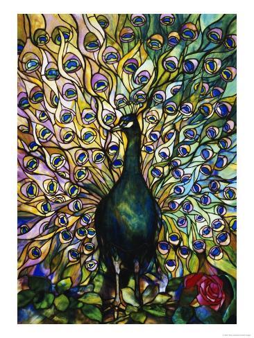 Fine Peacock Leaded Glass Domestic Window Giclee Print