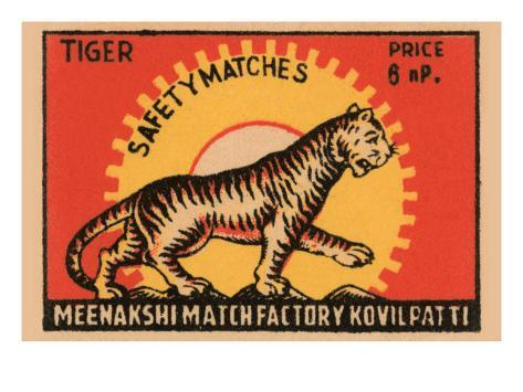 Tiger Safety Matches Art Print