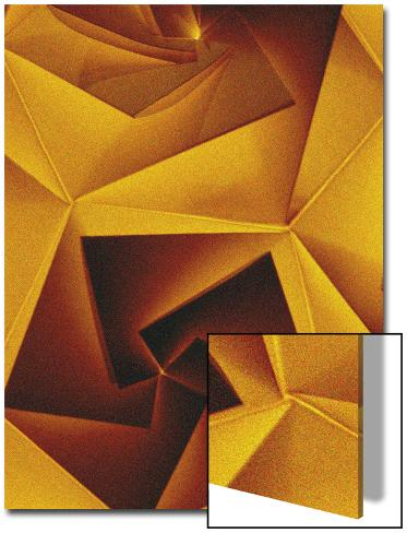Golden Geometric Pentagons Art on Acrylic