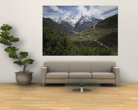 View of a Small Village with Mount Everest in the Background Wall Mural