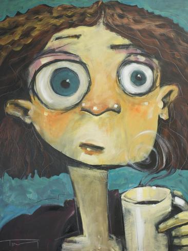 Her First Sip of Coffee Giclée-vedos