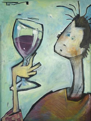 Man Swirls Wine Giclée-vedos