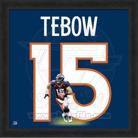 Tim Tebow, Broncos photographic representation of the player's jersey Framed Memorabilia