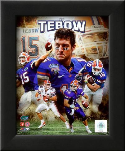 Tim Tebow University of Florida Gators Portrait Plus Framed Photographic Print