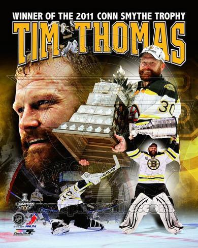 Tim Thomas 2011 NHL Stanley Cup Finals Conn Smythe Winner Portrait Plus Photo