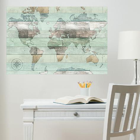 Timber World Map Wall Decal Adesivo De Parede