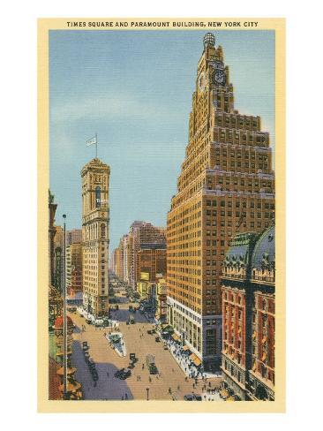 Times Square, Paramount Building, New York City Stretched Canvas Print