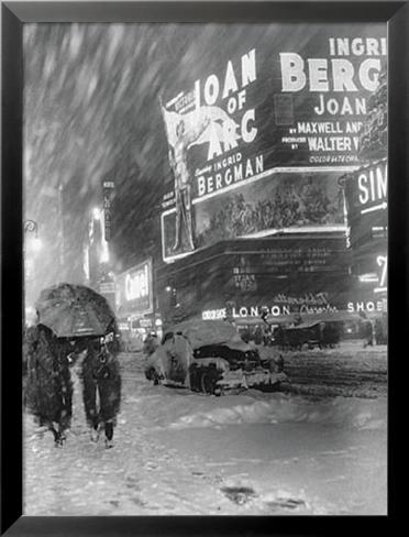 Times Square Inramat laminerat konstprint