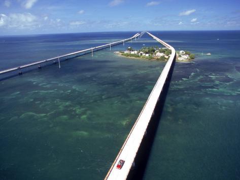 Aerial of 7 Mile Bridge, Pigeon Cay, Florida Keys Photographic Print