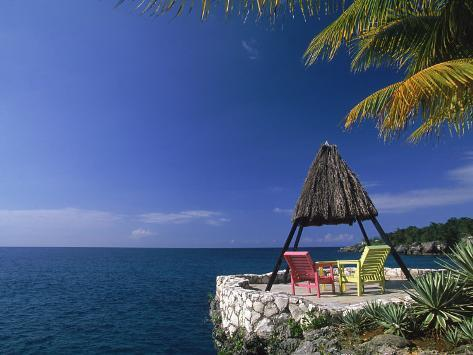 Rock House with Colorful Chairs, Negril, Jamaica Photographic Print
