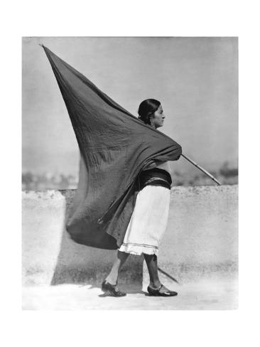 Woman with Flag, Mexico City, 1928 Photographic Print