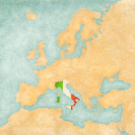 Map Of Europe Italy Vintage Series Posters By Tindo AllPostersca - Vintage europe map poster