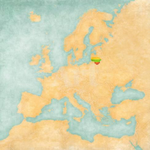 Lithuania On Europe Map.Map Of Europe Lithuania Vintage Series Poster By Tindo At
