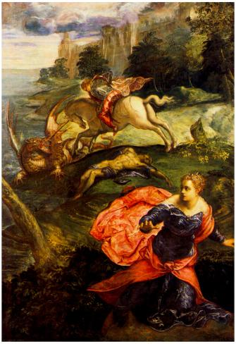 Tintoretto St George and the Dragon Art Print Poster Pôster