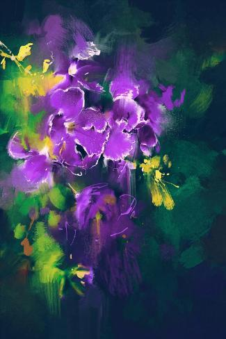 Beautiful Purple Flowers in Dark Background with Oil Painting Style Stampa artistica