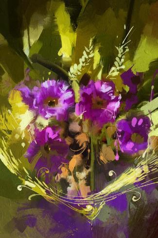 Bouquet of Purple Flowers,Digital Painting,Illustration Stampa artistica