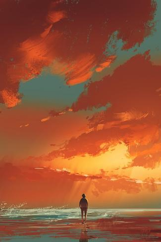 Lonely Man Standing on the Sea under Sunset Sky,Illustration Painting Art Print