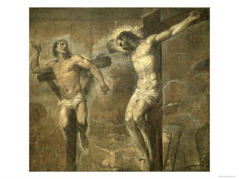 Christ on the Cross and the Good Thief, c.1565 Lámina giclée