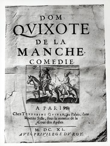 Title Page from Dom Quixote de La Manche Comedie by Guerin de Bouscal, 1640 Lámina giclée