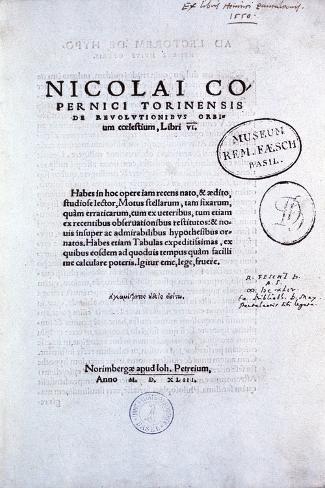 Title Page of Copernicus' De Revolutionibus Orbium Coelestium, 1543 Giclee Print