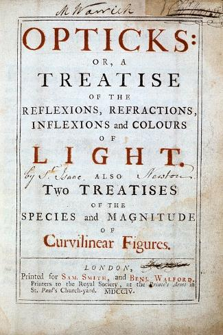 Title Page of Opticks by English Scientist and Mathematician Isaac Newton, 1794 Giclee Print