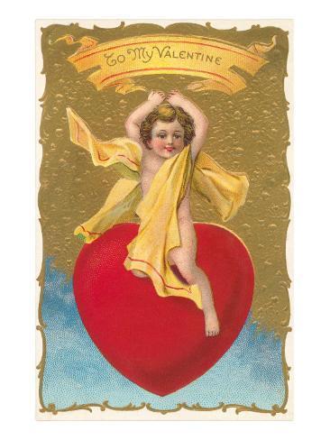 To My Valentine, Cupid on Heart Lámina