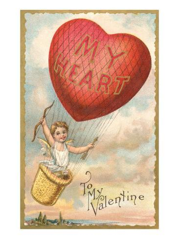To My Valentine, Heart Balloon and Cupid Lámina