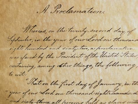 Close-up of a Copy of the Emancipation Proclamation Photographic Print