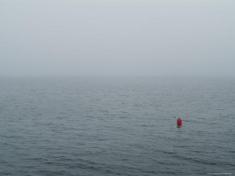 Red Buoy Floating on Block Island Sound in the Fog, Rhode Island Photographic Print