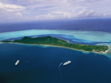 Two Cruise Ships Moored in Bora Bora as Seen from a Helicopter Photographic Print