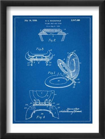 Toilet Seat Patent Framed Art Print