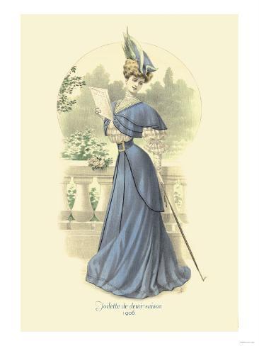 Toilette de Demi-Saison: Lady in Blue Stampa artistica