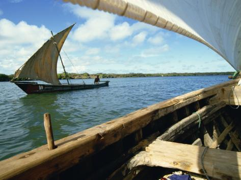 Dhows on River, Lamu, Kenya, East Africa, Africa Photographic Print