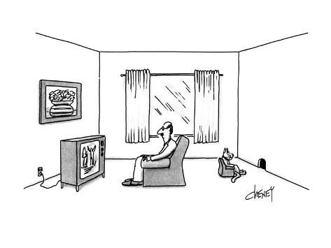 man sitting in armchair watching television while his cat sits in  man sitting in armchair watching television while his cat sits in armchai new yorker cartoon premium giclee print by tom cheney at allposters