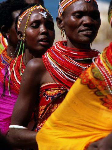 Dancers, El Molo Village, Lake Turkana, Kenya Impressão fotográfica