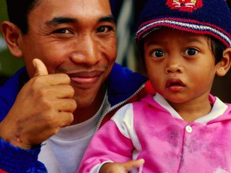 Father and Daughter at Pasar Badung, Denpasar, Indonesia Photographic Print