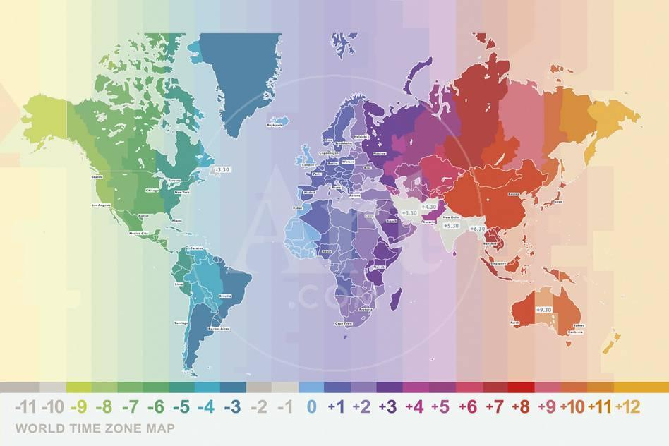World Time Zone Map Giclee Print By Tom Frazier At Allposters Com