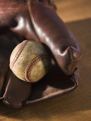 Baseball and Old Mitt Photographic Print