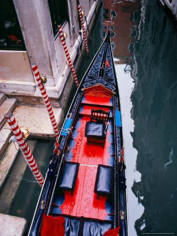 Gondola Docked in Venice, Italy Photographic Print