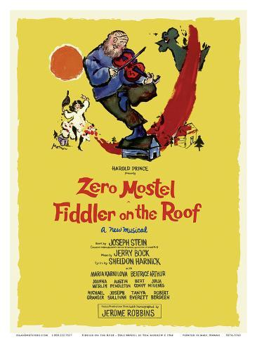Fiddler on the Roof - Starring Zero Mostel - Musical by Harold Prince アートプリント