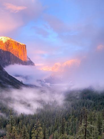 Alpenglow, Sunset Colors the Top of El Capitan, Yosemite, California, USA Photographic Print