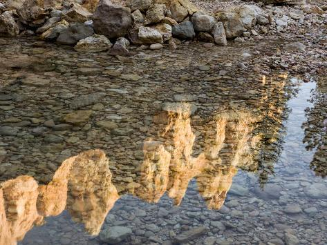 Peaks Reflecting in Small Pool at Mossy Cave at Bryce Canyon National Park, Utah, USA Photographic Print