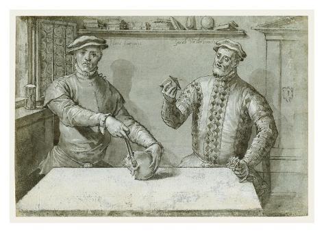 A Double Portrait of Hans Furraht and Jacob von der Burch Art Print