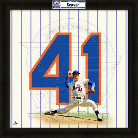 Tom Seaver, Mets representation of the player's jersey Framed Memorabilia