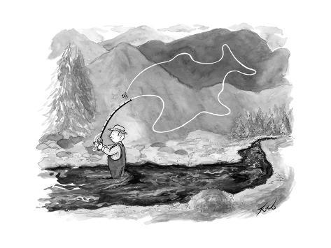 A fly fisherman casts back a reel that forms the shape of a giant fish abo... - New Yorker Cartoon Premium Giclee Print