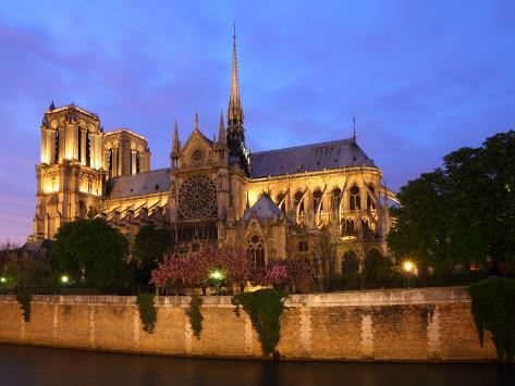 Notre Dame, Paris at Night. Photographic Print