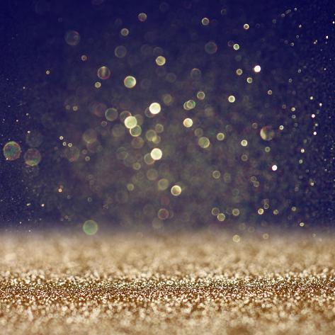 Glitter Vintage Lights Background. Defocused. Photographic Print