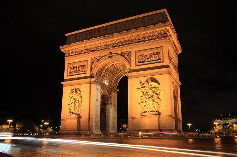 arc de triomphe at night photographic print by tony baggett at